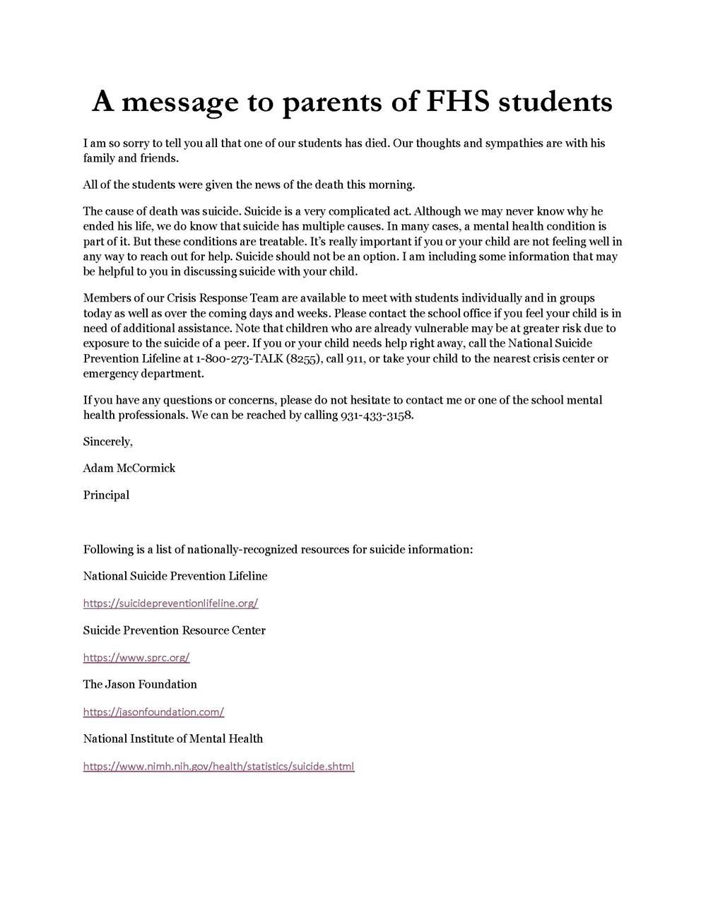 press release on message to parents