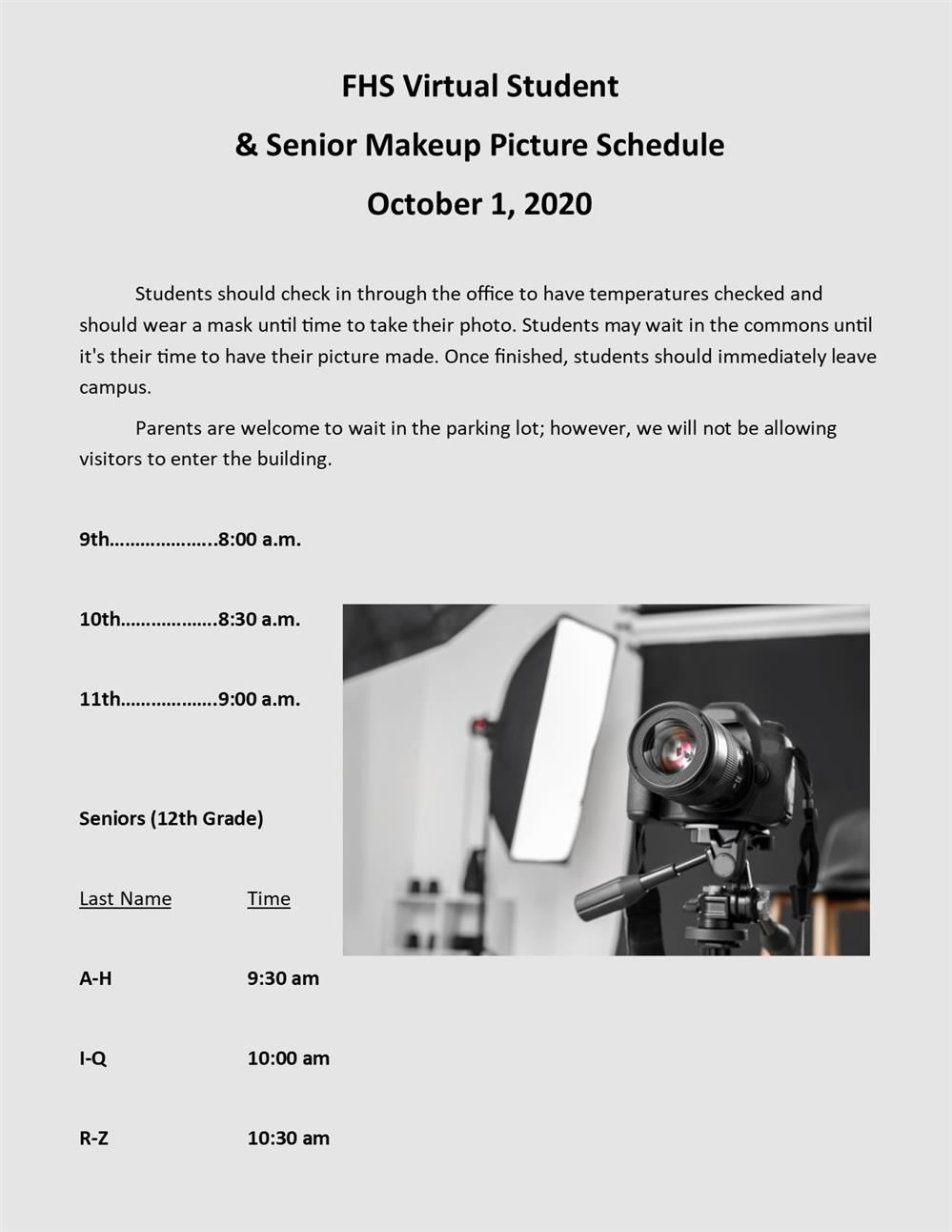 flyer for virtual student and senior makeup picture schedule