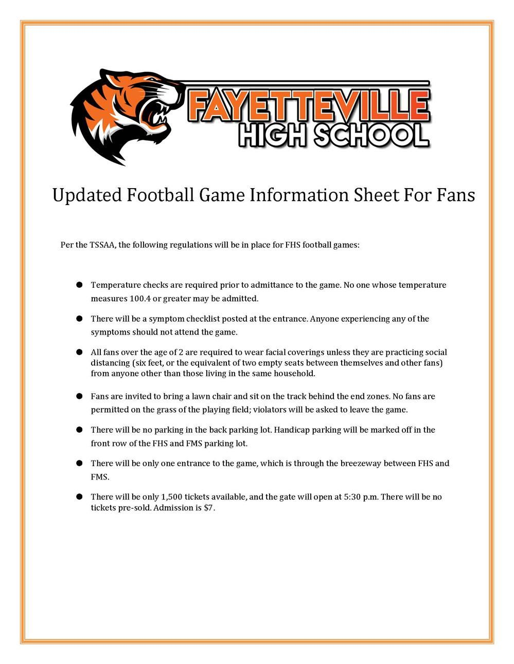 FHS info about football games