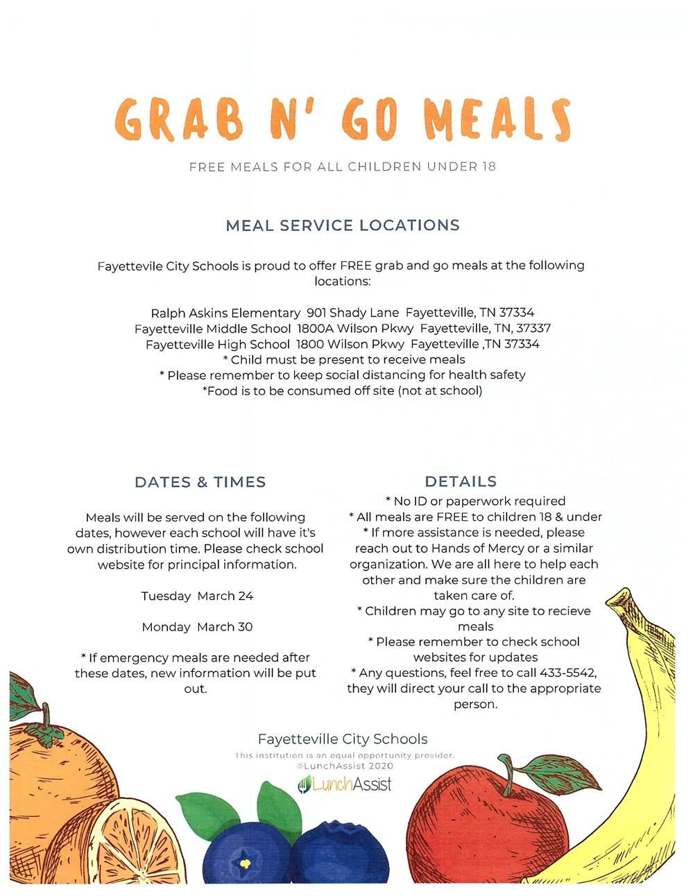Grab N' Go Meals - FREE meals to all children under 18