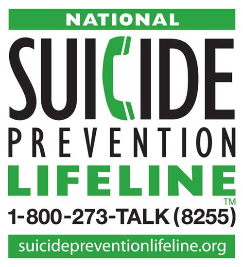 Suicide Prevention 1-800-273-TALK (8255)