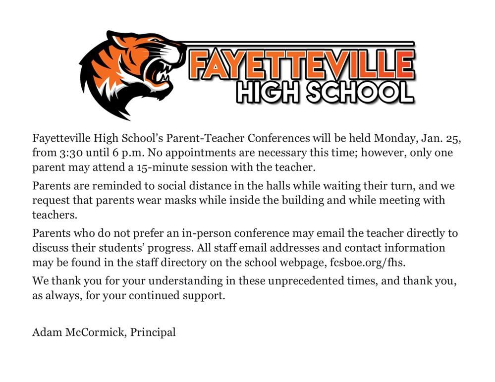 parent teacher conferences announced for Monday, Jan. 25.