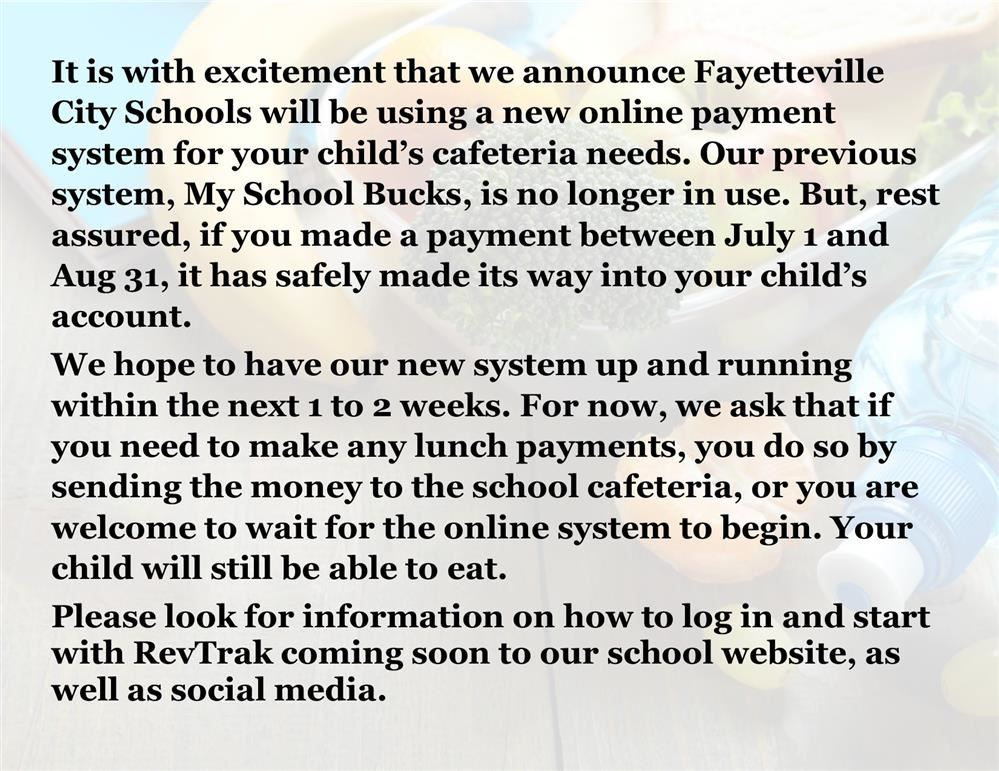 New online payment system for cafeterias coming soon