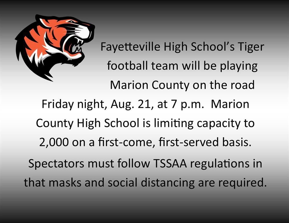 Tiger logo with information about game Friday night