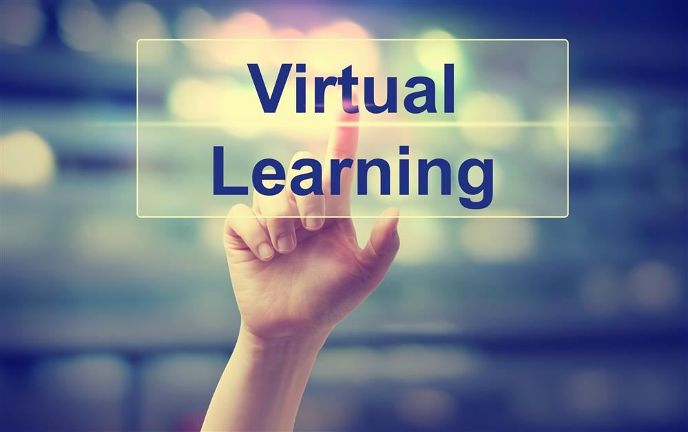 virtual learning with student holding up hand