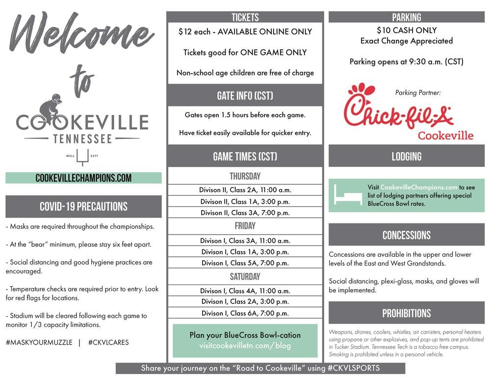 City of Cookeville game day information