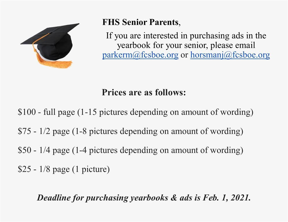 fhs senior parents reminded of deadlines