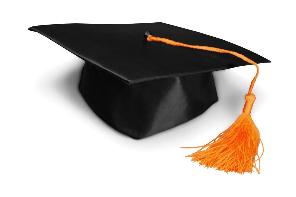 graduation cap with orange tassle