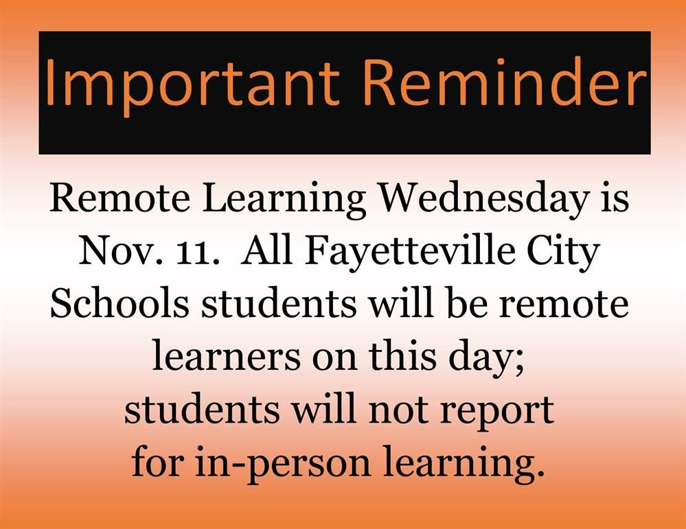 Remote Learning Wednesday is Nov. 11