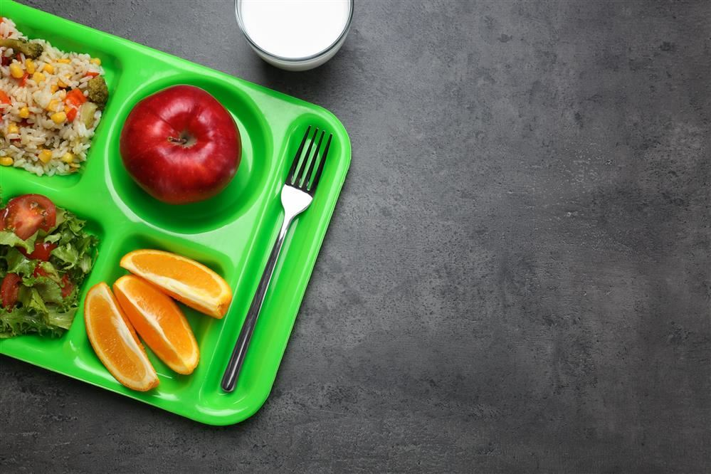 school lunch on a tray
