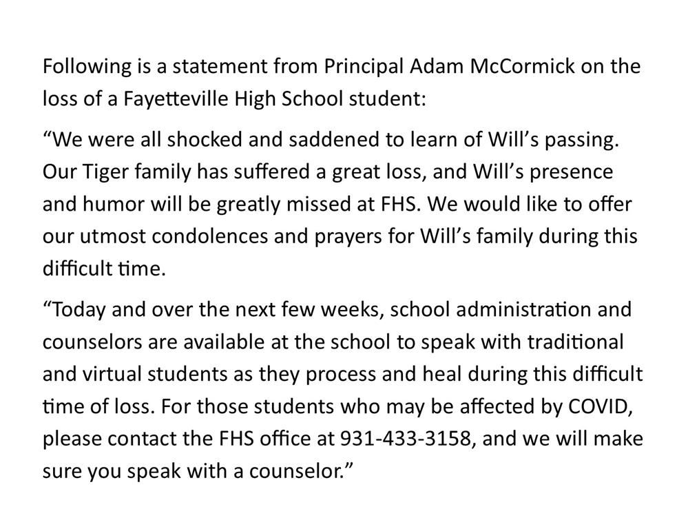 press release about loss of student