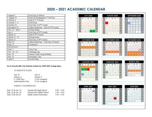 picture of calendar for 2020-21 school year