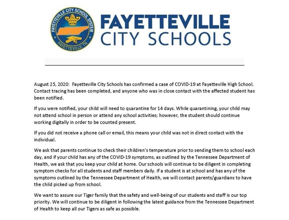 press release about positive case at FHS
