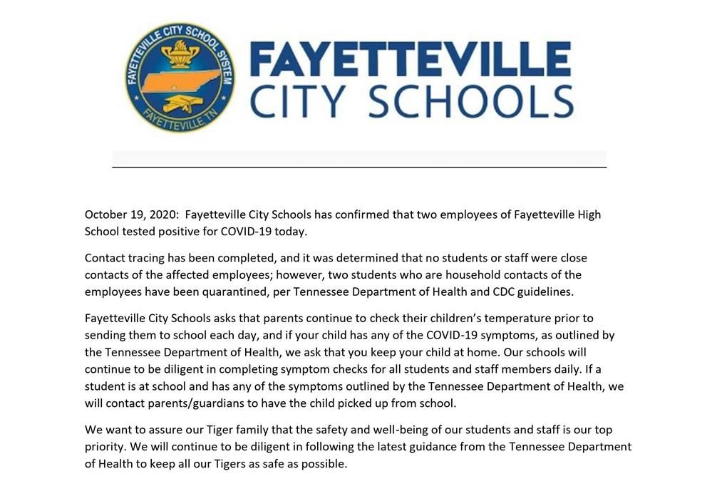press release about COVID cases at FHS