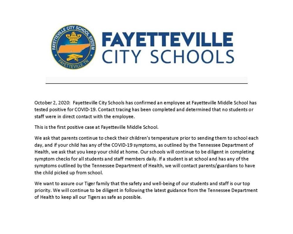 press release from Fayetteville City Schools