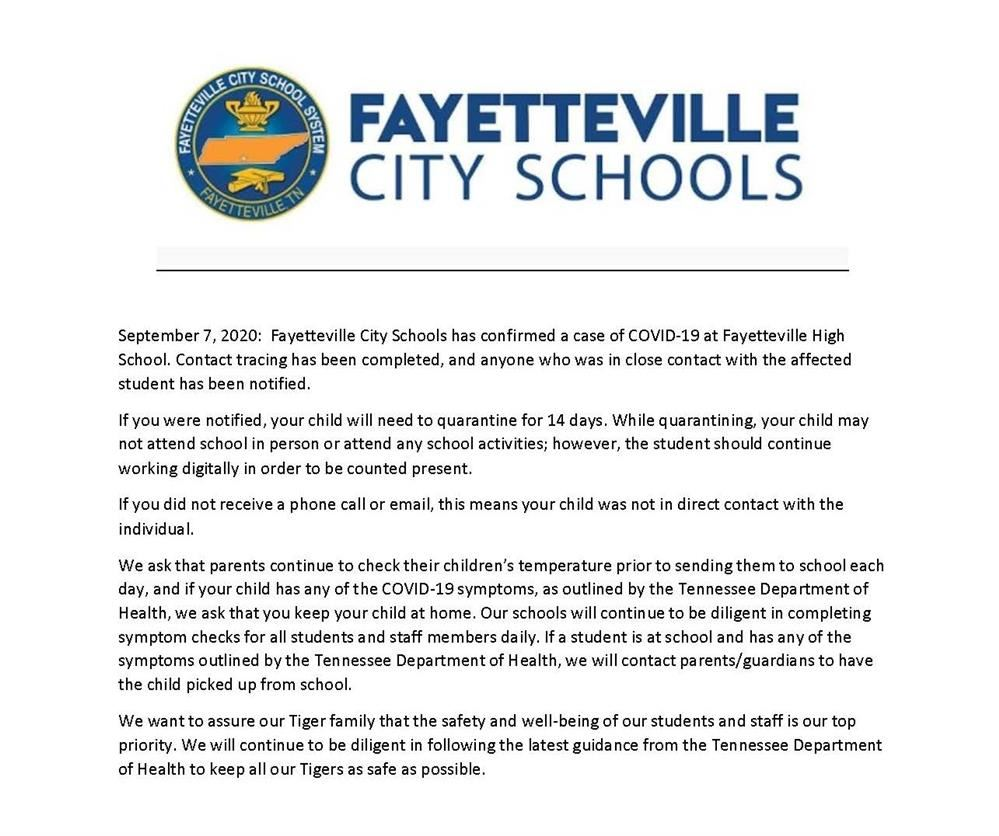 press release about COVID at FHS