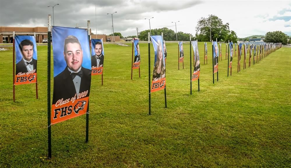 Banners on Tiger Hill honor FHS graduates