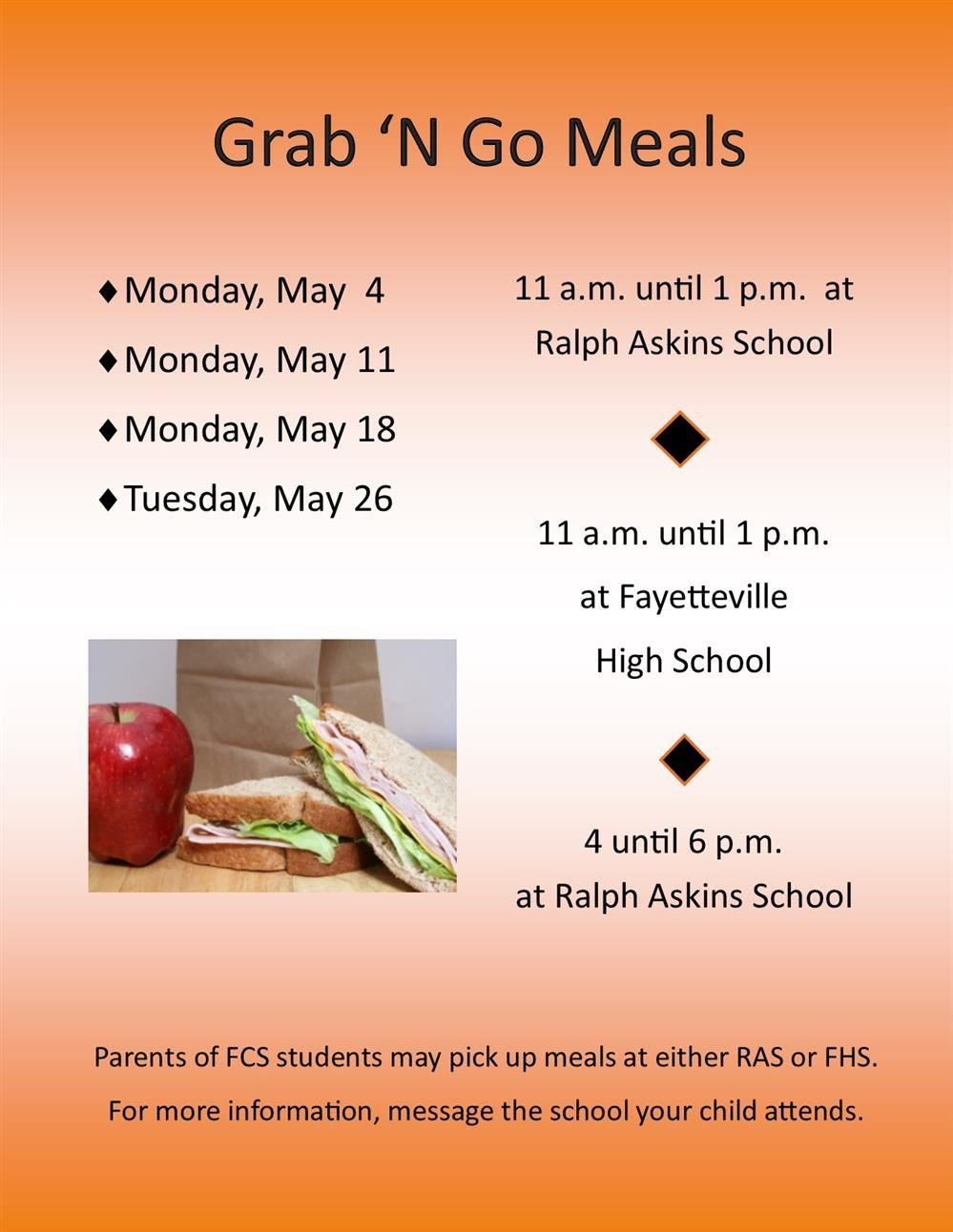 Grab 'N Go Meals to be distributed through May