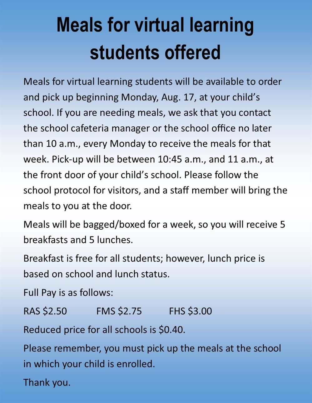 virtual learning meals flyer