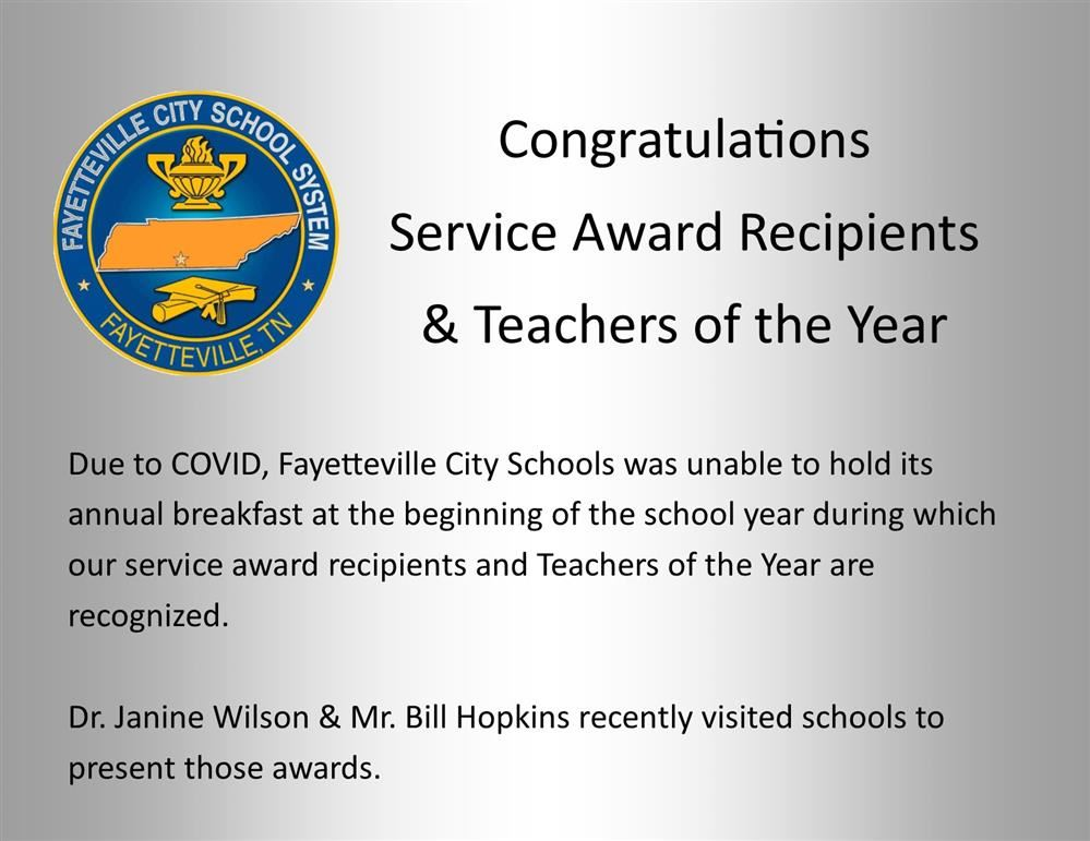 congratulations service award recipients message