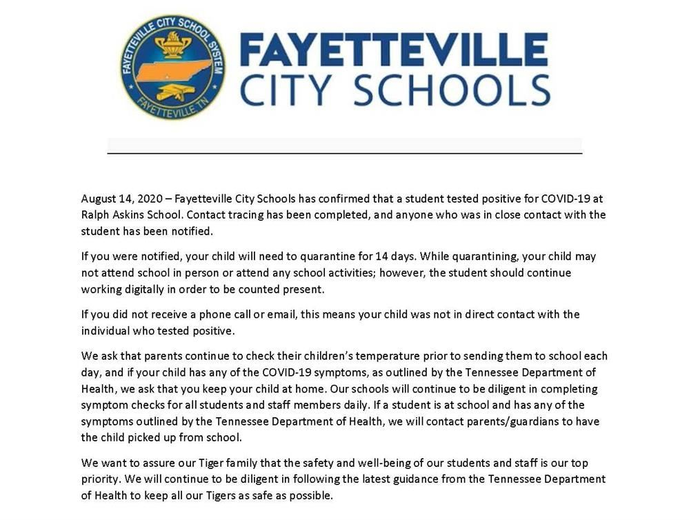 press release on student testing positive