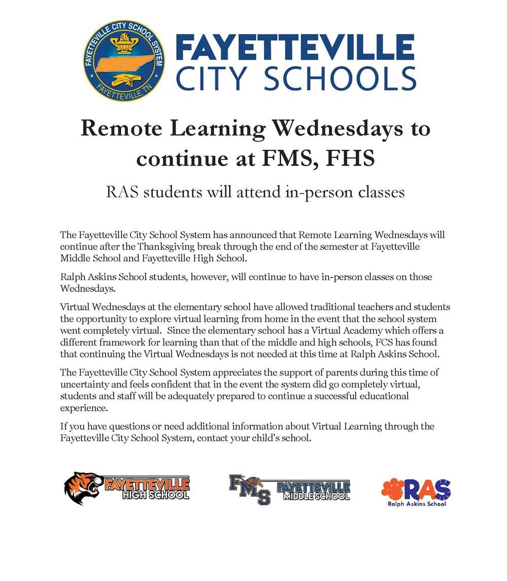 Remote Learning Wednesdays at FMS, FHS will continue after Thanksgiving break