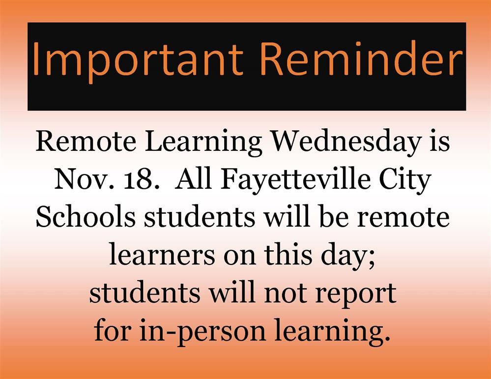 remote learning wednesday information