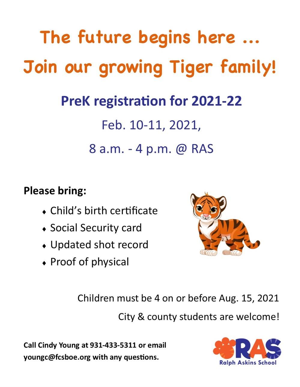 flyer about pre-k registration and dates