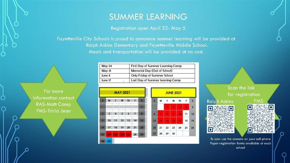 flyer with summer learning registration dates