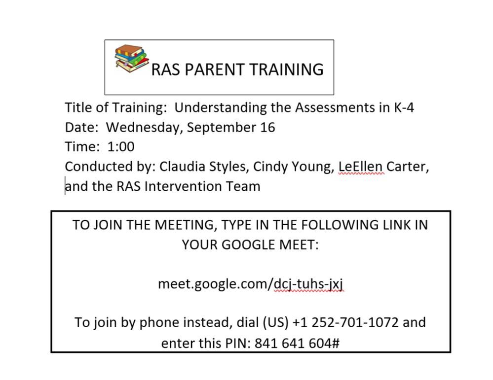 RAS parent training information