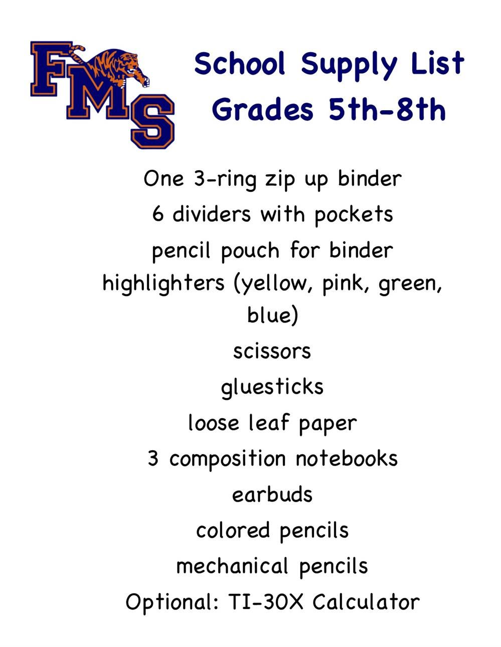 flyer with school supply list