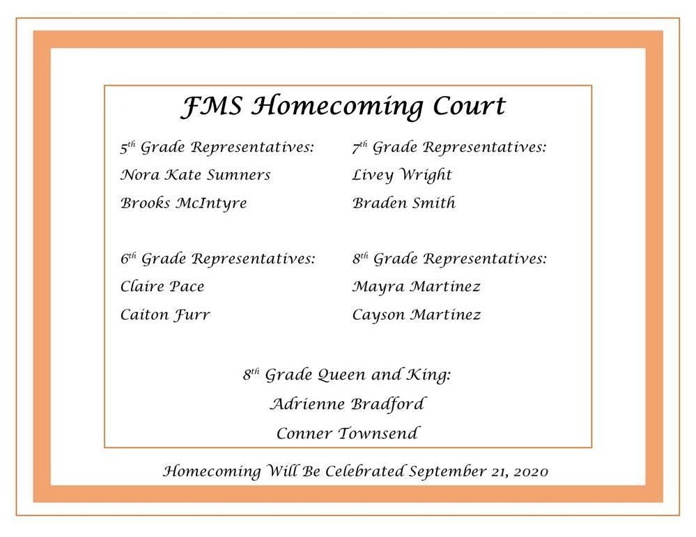 homecoming court listed