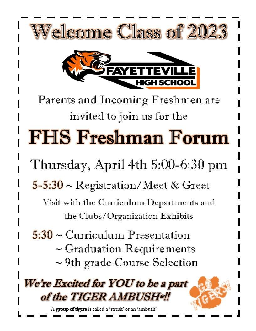 Freshman Forum Flyer